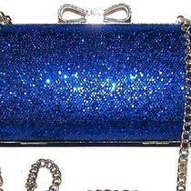Lulu Townsend Sapphire Blue Hard Shell Handbag Purse Clutch    Photo