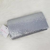 Lulu Townsend Silver Metal Mesh Clutch - Brand New Snap Closure & Strap Photo