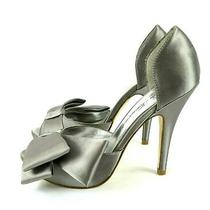 Lulu Townsend Size 5.5 M Silver Satin Bow Accent Peep Toe Pumps Stiletto Heels Photo