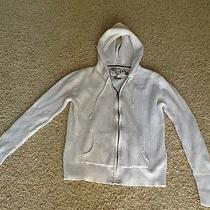 Lulu White Zip Up Hooded Long Sleeve Sweater Sz L Gently Worn Photo