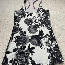 Lululemon Cool Racerback Size 4 Crb Tank Top Brisk Bloom Black White Floral Photo