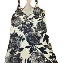 Lululemon Crb Cool Racerback Tank Top Size 2 Brisk Bloom Black White Floral Euc  Photo