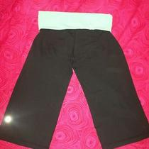 Lululemon Fold Waist Crop Pants. black&aqua Blue. Size 4. Photo