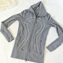 Lululemon in Stride Jacket Coal Fossil Gray Wee Are From Space Zip Womens Size 6 Photo