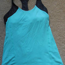 Lululemon Inner Strength Tank River Rock Teal W Heathered Gray for Yoga Gym Sz 8 Photo