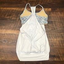 Lululemon No Limits Tank White / Blazer Fossil Size 6 Top Shirt Yoga Workout Photo