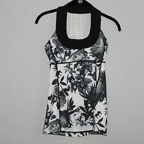 Lululemon Scoop Neck Tank Floral Luon Black White Brisk Bloom Size 4 Hw8416 Photo