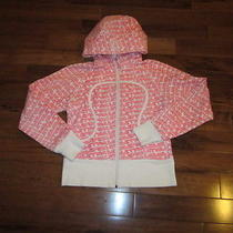 Lululemon  Scuba Hoodie Size 6 in Pink and White Lulu Signature Print Photo