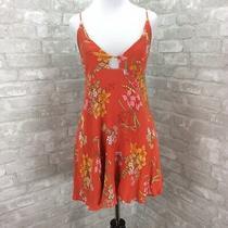 Lulus Dress Medium Orange Floral Print Keyhole Bodice Criss Cross Back  Photo
