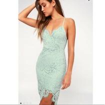 Lulus Flirting With Desire Lace Bodycon Dress Mint Blue Size Large Photo