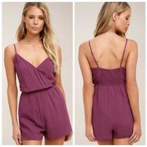 Lulus Indie Magenta Surplice Romper Nwt Size Small Photo