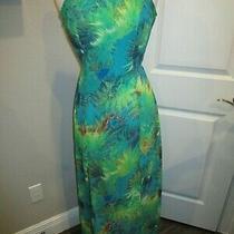 Lulus Multi Color Maxi Dress Slvless Size M Polyester Long Split on Both Sides B Photo