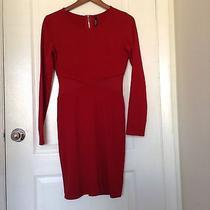Lulus Red Long Sleeves See Through Waist Dress Size Medium Photo