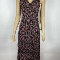 Lulus Womens Maxi Dress  Black-Burgundy Floral Wrap Waist Size Xs Photo