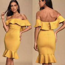 Lulus Yellow Gold Small Off Shoulder Ruffles Short Dress Boost of Confidence Photo