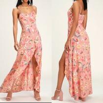 Lulus Zinnia Blush Pink Floral Print High-Low Maxi Dress Women's Size Xl Hw8964 Photo