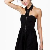 Lulus Zip Collar Dress Mystic Medium Black Skater Dress Photo