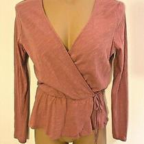 Lush Blush Pink Tie Peplum Faux Wrap Top Sz Xs Photo