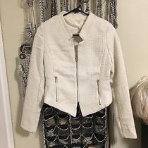 Lush Nasty Gal Camilla Tweed Jacket Blazer Med Off White Zipper Career Texture Photo