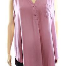 Lush New Pink Blush Women's Size Large L Split-Neck Solid Pocket Blouse Deal Photo