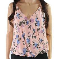 Lush Women's Blouse Blush Pink Size Small S Floral Printed Surplice 78 042 Photo