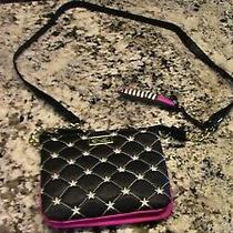 Luv Betsey Betsey Johnson Cross Body White Black & Pink Purse With Chain Quitted Photo