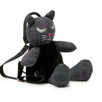 Luv  Betsey Johnson Gray Plaid Plush Kitty - Cat Backpack Bag Purse Nwt Photo