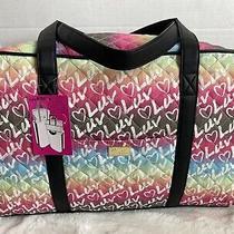 Luv Betsey Johnson Rainbow Weekender Tote Duffel Bag Black Blush Tie Dye Nwt108 Photo