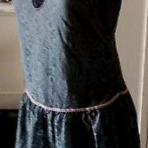 Lux Anthropologie  Blue -Gray Pink Lace Mini Baby Doll Sun Shift Dress L Photo