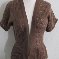Lux Sweater Urban Outfitters Cardigan S Brown Mohair Blend Knit Short Sleeve Photo