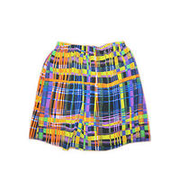 Lux Urban Outfitters Womens Bright Colorful Plaid Design Stretch Waist Skirt M Photo