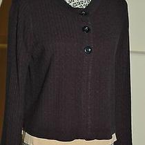Luxe 360 Black Cardigan Cable Sweater Size Large L Photo