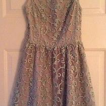 Luxe Apothetique Dress Blue Sheer Overlay Blush Underlay Cut Out Sz Medium M Photo
