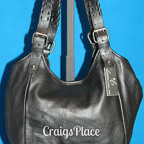 Luxe Rachel Zoe Leather Double Shoulder Strap Hobo Bag Black A217300 Photo