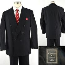 Luxury Christian Dior Monsieur Classic Black Dbl Breast Luxury Wool Suit  44l Photo