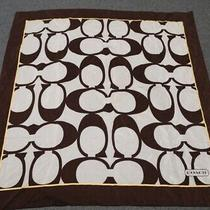Luxury Coach Signature Silk Cotton Scarf All Over Print Brown Gold White Photo