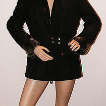 Luxury Prada Women's Black Coat With Real Fur Xl Mint Photo
