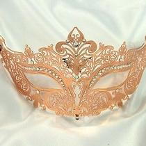 Luxury Rose Gold Metal Masquerade Mask - Swarovski Rhinestone Inspired Photo