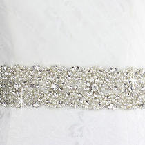 Luxury Swarovski Belt Handwork Beaded Crystal Sash Wedding White Ivory Ribbons Photo