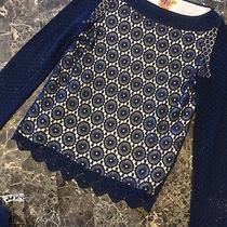 Luxury Tory Burch Crochet Lace Blue Navy Photo
