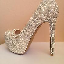 Luxury White Pearl Rhinestone Swarovski Crystal Bridal Sexy Party Wedding Shoes Photo