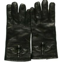 M-18986 New Gucci Bee Black Men's Leather Gloves Photo