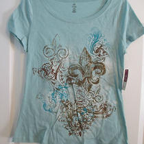 m (8-10) Aqua Round Neck Tee T-Shirt Top Gold Glitter Detail  S/s Bobbie Brooks Photo