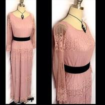 M 8 10 Vintage 1960's 1970's Blush Pink Lace Hippie Formal Mad Men Dress Photo