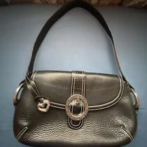 M Black Pebbled Leather Brighton Shoulder Bag W/ Blk Croc Trim & Hang Tag Photo