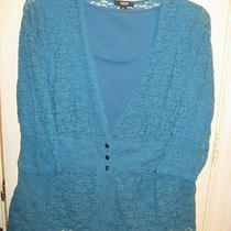 M Blouse Top 2 Piece Look Set Alfani New Aqua Lace Lined 3/4 Sleeves Photo