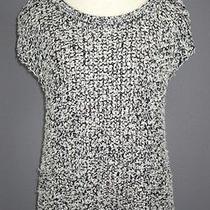 M Eileen Fisher Black Tufted Cotton Twist Envelope Back Jewel Neck Top Nwt 218 Photo