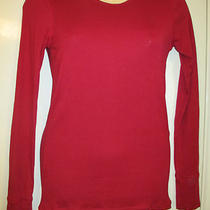 M Gap Red Top T-Shirt Long Sleeves Round Neck Cuffs Pima Cotton Blend Super Soft Photo