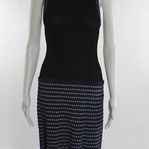 M Missoni Black Blue Embroidered Sleeveless Stretch Knit Dress Sz Ital 44 Photo