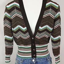 M Missoni Cropped Light Cardigan Bracelet Sleeve Chevron Knit Cotton Blend Us 2 Photo
